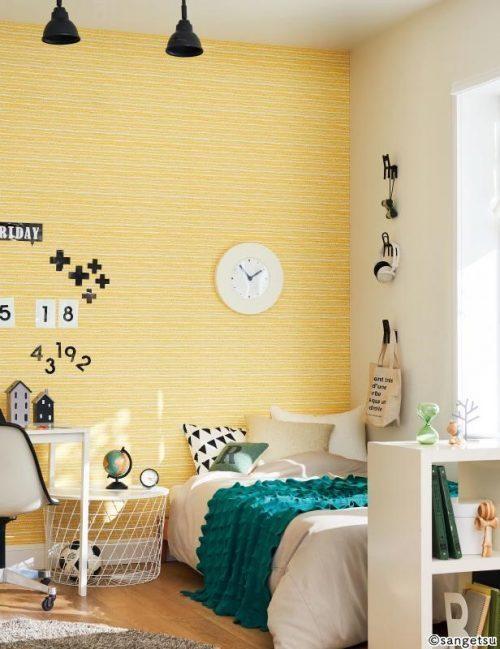 元気の出る黄色をアクセントに使った子ども部屋