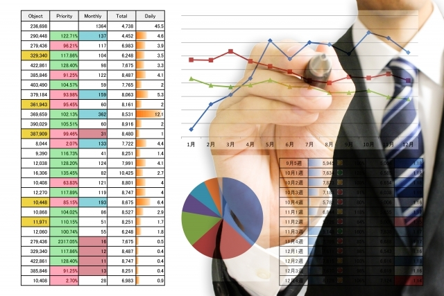 統計資料とビジネスマン
