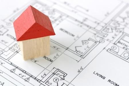 家と設計図の画像