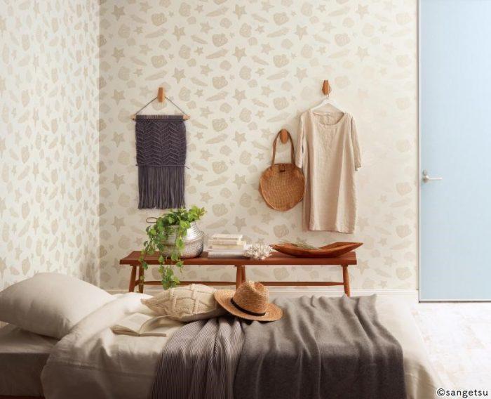 ポップなのに落ち着いた雰囲気の寝室